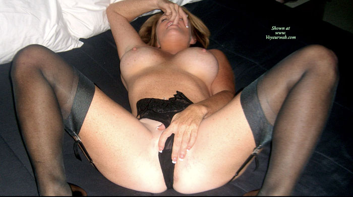 Topless Wearing Garter Belt And Stockings - Big Tits, Erect Nipples, Milf, Spread Legs, Stockings, Topless , Black 4 Strap Suspender Belt, Hand On Pussy, Legs Spread Wide Apart, Lying Back With Legs Spread, Black Pants, Freckles, Big Tittys, Blond, Perfect Milf On Her Back With Legs Spread