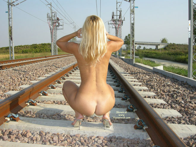Rear View Of Nude Blonde On Train Tracks - Blonde Hair, Naked Girl, Nude Amateur , Shapely Back And Ass, Squatting On A Rail, Hour Glass Ass, Small Waist, Nude Outdoors, Nude In Heels Squatting Outside, Blonde Nude In Silver Heels Squatting, Bleach Blonde On Train Tracks