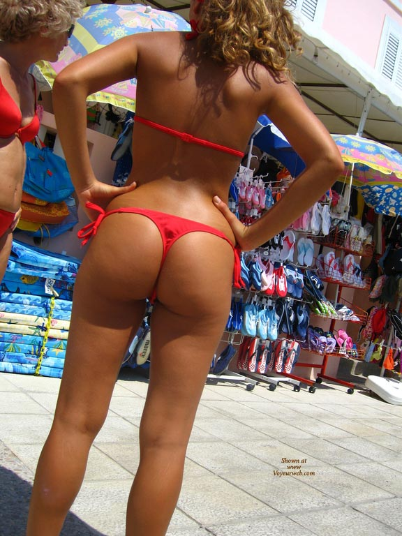 Tourist Girls In Red Bikini - Brown Hair, Beach Voyeur, Sexy Ass , Beach Ass, Nice Ass In Thong, Deep Dark Tan, Curly Brown Hair, Tanned Bikini Girl In A Chord Of G, Ass On The Street, Standing In Thong From Behind, Perfect Ass