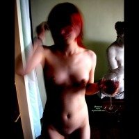 Naked Wine Drinking - Red Hair, Naked Girl, Nude Amateur , Red Head, Blurry Nude, In The Mirror, Motion Blur, Red Wine, Camera Blur, Standing With Wine Glass, Wine Glass