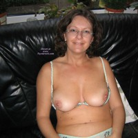 Mature Topless On Couch - Brunette Hair, Topless , Girl With Glasses, Exposed Boobs, Topless Mature Brunette