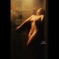 Nude In Shower - Naked Girl, Nude Amateur , Nude In The Spotlight, Contrasts In Colors, Belly Exposed, Stone Shower Stall, Artistic Nude, Wet Nude, Full Frontal Shower, Leaning Wet Nude, Naked In Bathroom