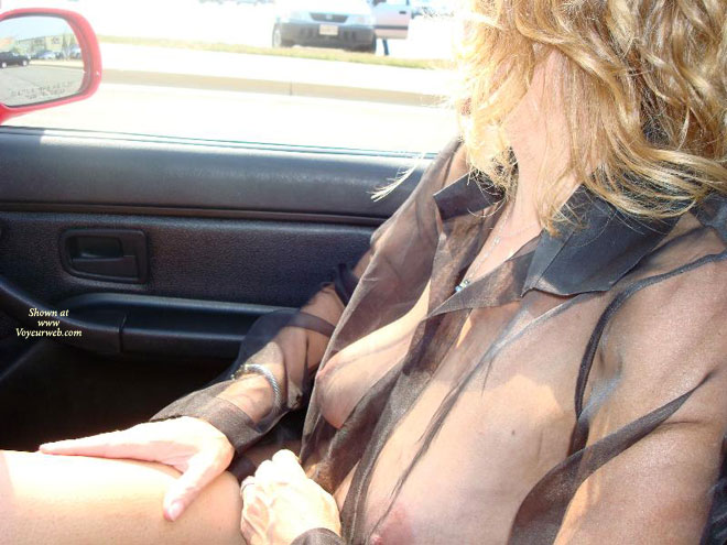 See Thru Top - Big Tits, Blonde Hair, Long Hair , Front Seat Spectacle, Blonde With Big Tits, See Through Top In Car, Sitting In Car Passenger Seat, Black See Thru Mesh Blouse