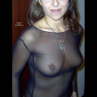See Though Blouse , Tits Through Mesh, Clouseup, Black Sheer Blouse