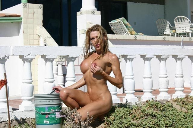 Nude Girl Painting The Fence - Blonde Hair, Long Hair, Naked Girl, Nude Amateur , Naked Outside, Holding One Breast, Working Nude Outside, Naked Gardening, Hard Body, Large Round Tits