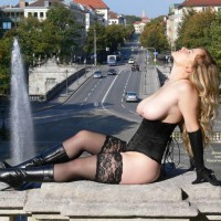 Exhibitionist - Exhibitionist, Flashing, Nude In Public, Stockings, Naked Girl, Nude Amateur , Black Corset, Nude Girl In Munich, Luscious Landmark Tits, Black Gloves, High Heel Boots, Reclining In Front Of Street And Fountain, Black Lace Stockings, Black High Heeled Boots