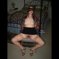 Tied Wife - Bondage, Heels, Spread Legs , Hot Wife, Sitting In Chair With Legs Spread, Bondaged Wife, Black Upskirt And Blindfolded, Open Unbuttoned Multicolored Blouse, Pantyless Short Dress, Black And Tan Blindfold, Hairy Pussy, Short Skirt, Black Skirt, Welcoming Pussy, Blindfolded