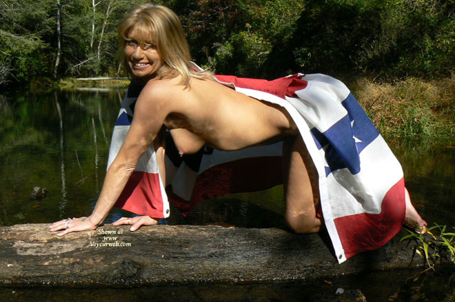 Nude Lady Covered By Stars And Bars Flag - Naked Girl, Nude Amateur , A Flag, A Lady, A Tree, Tit Peeking Out