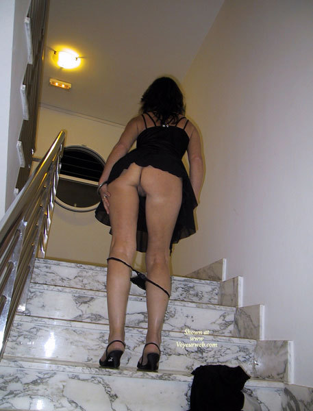 Upskirt On Stairs With Panties Down - Round Ass, Upskirt, Sexy Ass, Sexy Legs , Sexy Round Ass, Short Heels, Stripping On Stairway, Invitation Upstairs, Black Panties At Knees, Upskirt On Stairs, Black High Heel Shoes, Black Dress, Full Moon Skirt, Wedding Ring
