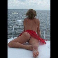 Outdoor Blonde Laying On Stomach Across Boat Deck With Red Sash - Blonde Hair, Tan Lines, Sexy Feet , Toe Point And Tan Lines, Ass Shot On Boat, On A Boat, Red Sarong, On The Boat, Showing Off Nice Bare Legs, Feet And Buns, Only A Red Cloth On, Wife, Blond Showing Ass, Almost Naked Rearview Of Pussy On Boat