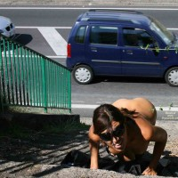 Nude Girl In Public Beside Street - Brunette Hair, Flashing, Nude In Public, Naked Girl, Nude Amateur , Exhibtionist, Nude On Steps, Secret Pose Nude Outside, Crawling Up The Steps For The Passing Traffic, Nude On Stairs, Black Glasses, Crawling Up The Stairs Nude, Climbing Stairs Outside Naked, Climbing The Stairs On Her Knees