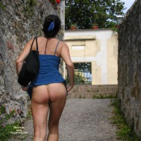 Flashing Bare Bum - Flashing Ass, Flashing , Horizontal Butt Cleavage, Raised Skirt, Ass Toward Camera, Bottomless Outdoors, Outdoors Walking Between Stone Walls, Pantyless Under Summer Dress, Walking Up Hill, Rear View Image, Swinging Her Hips