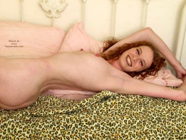 Curly Redhead - Lying Down, Perky Nipples, Looking At The Camera, Sexy Body , Curly Redhead, Perky Nipples, Smiling Naked, Smiling At Camera, Laying On Bed, Tight Body