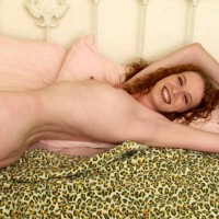 Curly Redhead - Lying Down, Perky Nipples, Looking At The Camera, Sexy Body , Curly Redhead, Perky Nipples, Smiling Naked, Smiling At Camera, Laying On Bed, Tight Body