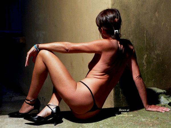 Hot Milf Body - Dark Hair, Heels, Milf, Small Tits , Nice Firm Ass, Tan Skin, Black Thong, Cfm Stiletto Shoes, Thonged Ass Turned Toward Camera, Sitting On A Ledge, Shapely Legs