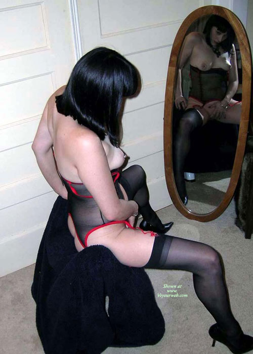 Self Pussy Exam - Heels, Milf, Pierced Nipples, Stockings , Fur Coat, Hand On Pussy, Mirror Playing, Sitting In Front Of Mirror, Full Length Mirror, Betty Page Outfit, Nipple Ring, Black Corset With Red Trim Lace, Watching Herself In The Mirror, Hot Milf In Lingerie Profile Shot, Legs Spreed, Black And Red See-through Lingerie, Mirror View