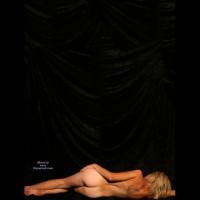 Artistic Nude Pose - Blonde Hair, Naked Girl, Nude Amateur , Lying On Her Side, Model At Bottom Of Frame With Black Drape Filling Rest Of Frame