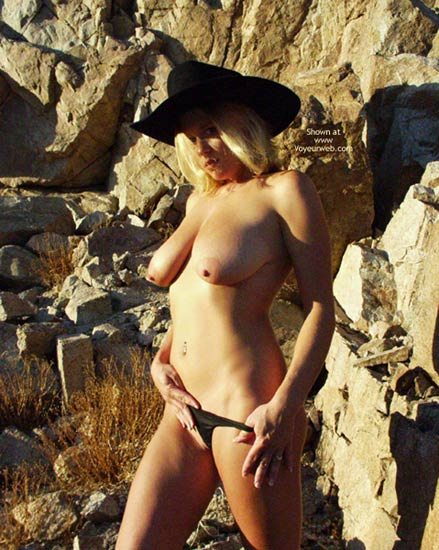 Heavy Hangers - Blonde Hair , Heavy Hangers, Cowgirl Look, Blonde Hair, Topless Outdoor, Black Hat And Panties, Black Hat, Erect Nipples