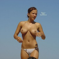 Wet After Swimming - Big Tits, Camel Toe, Erect Nipples, Large Breasts, Natural Tits, Topless , White Wicked Weasel Panties, Large Natural Breasts, Arms Raised, Beach Picture, Walking Along, Wet Cameltoe, Standing Topless