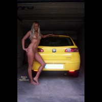 Outdoor Blonde Wide Shot Leaning On Car In Garage - Blonde Hair, Firm Tits, Long Hair, Naked Girl, Nude Amateur , Naked Blond, Athletic Nude Babe, Posing With Car, Athletic Body, Casually Nude Standing Pose, Blonde On Yellow, Girl & Car