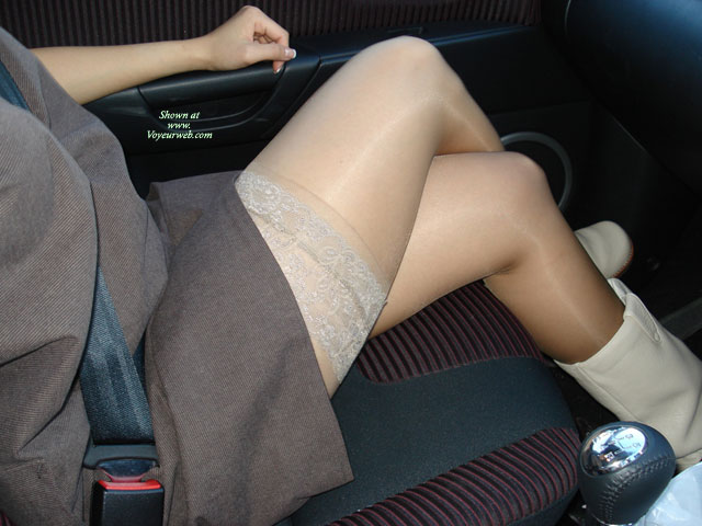 Sitting In Car Showing Legs And Stockings - Sexy Legs , Short Dress, Mid Calf Boots, Sitting In The Car, Stocking Tops In The Car, Sheer Lace Top Thigh High Stockings, Nice Legs With Stockings, Legs Crossed, Crossed Legs In The Car, Stockings Legs In Car