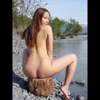 Naked Outdoors - Naked Outdoors, Water , Naked Outdoors, Glance Over Shoulder On Log, Raised Eyebrows, Toes In Water, Full Body Nude