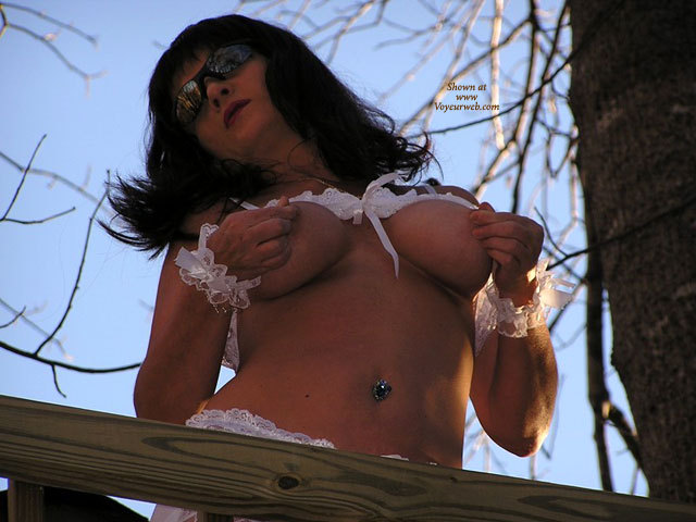 Wife Pinchig Nipples - Big Tits, Black Hair, Brunette Hair, Long Hair, Sunglasses , Navel Piercing, Nipple Pull, On A Bridge Outside, Pinching Her Nips, White Lace Outdoors, White Lace Wrist Bands