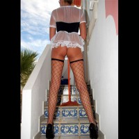 Sexy French Maid Rear View - Heels, Long Legs, Stockings, Sexy Ass , Standing On Stairs, Ass Shot, Posing On Stairs, Standing On Stairs In Lingerie, Black Fishnet Stockings, White Thong With Fishnet Stockings, Long Legs In Fishnet Stockiings, Sheer Black And White Mini Dress, Tight Little Sexy Ass