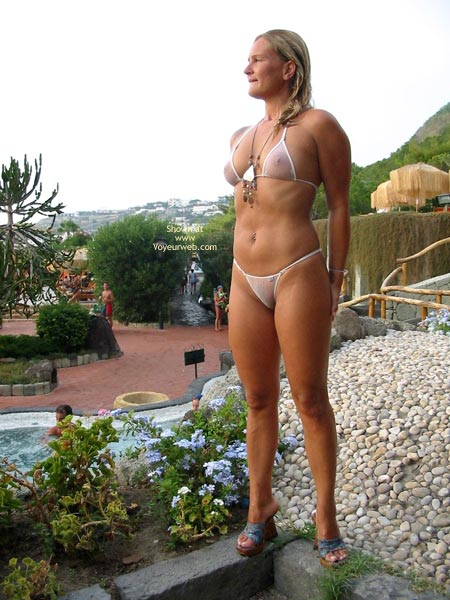 See Through Bikini - Bikini, Blonde Hair, Nipples, Nude Outdoors , See Through Bikini, Blonde Hair, See-thru White Bikini, See-thru Nipples, See-thru Outdoors, Posing By Pool