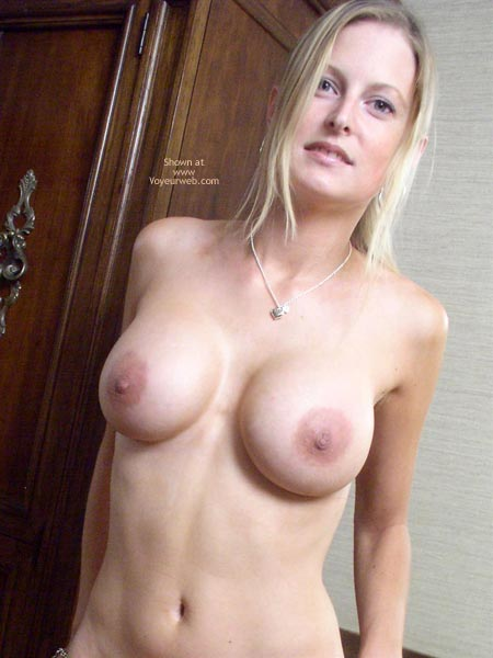 Girl Wearing Necklace - Green Eyes, Large Aerolas, Standing , Girl Wearing Necklace, Topless Blonde With Large Breasts, Green Eyes, Standing, Frontal Shot Indoors, Large Aerolas