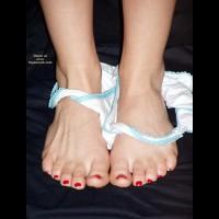 Feet Fetish - Sexy Panties , Feet Fetish, Girlypanties, Panties Dropped To Ankles, Feet With Red Toenail Polish, White Panties
