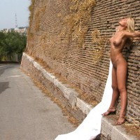 Nude Against Building - Blonde Hair, Heels, Nude Outdoors , Nude Against Building, Against The Wall, High Heels, Blond, Outdoors, Standing On Ledge, Head Back