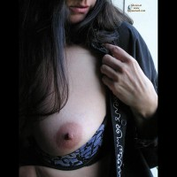 Tit Closeup - Dark Hair, Huge Tits, Long Hair , Nipple Exposed, Large Breast, Breast Closeup, Boob Slip, Dark Areola, Black And Blue Bra, Smooth Aerola