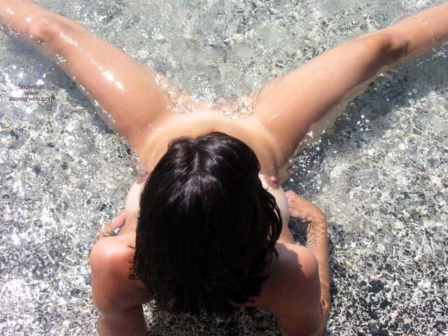 Naked In The Water - Spread Legs , Naked In The Water, Sitting In Water Legs Spread, Legs Spread Wide, From Above, Lying Back