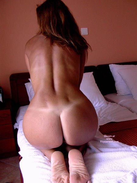 Kneeling With Hands In Front To Put Tension In Her Back Muscles - Round Ass, Tan Lines , Feet Together, Hourglass Shape, Showing Off Perfect Tan Lines, Kneeling On Bed, Showing Her Nice Round Ass, Round Shapely Ass, Back To Camera, Sexy Back