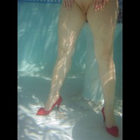 Wearing High Heels In Pool - Heels, Shaved Pussy , Red High Heels, Red Pumps With Flower Embellishment, Bare/shaved Pussy, Underwater Pussy, Clit Ring, Clit Piercing