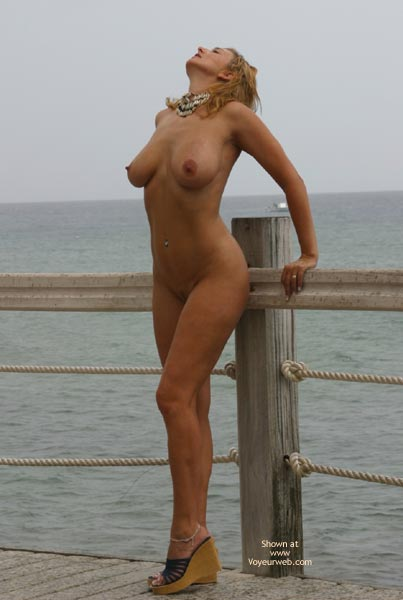 Boardwalk On Water - Heels, Nude Outdoors , Boardwalk On Water, Black Wedge Heels, Nude Outdoors, Backwards Head Tilt, Medium Sized Breasts