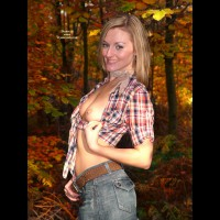 Tit Flashing In Forest - Flashing , Tied Open Plaid Shirt, Flashing In A Park, Exposed Breast, Pulling Shirt To The Side, Blond In The Woods, Denim Shorts, Petite Breasts, Standing In Front Of Trees, Flashing Tits