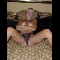 Spreading Legs - Perky Tits, Spread Legs, Sexy Panties , Spreading Legs, Black Panties, Perky Tits, Landing Strip Visable Under Panties, Blond On Bed With Bush Showing, Smiling Blond With Bare Boobs