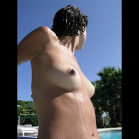 Bare Titties At The Pool , Bare Titties At The Pool, Exposed At The Pool, Small Wet Breasts, Naked By The Pool, Wet Girl