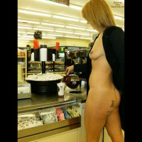EIP Pouring Coffee Showing Boob And Ass - Blonde Hair, Erect Nipples, Flashing, Milf , Eip In Convenience Store, Tit And Ass Flash In Coffee Shop, Pierced Nipple, Naked Shopping, Milf Tits, Tattoo On Ass, Short Blonde Hair, Pouring Coffee While Flashing In 7-11, Nipple Ring, Tattoo
