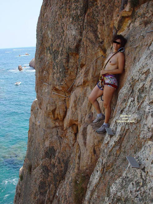 Extreme Climbing Topless - Topless , Hiking Boots, Multi Colored Shorts, Climbing Harness, Outdoors, Public