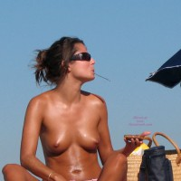 Topless Lunch - Firm Tits, Sunglasses, Topless, Beach Voyeur, Naked Girl, Nude Amateur , Spoon In Mouth, Tan Titties, Bach Tits, At The Beach, Nude On Beach, Topless Beach, Tan Tits, Young Beach Boobs, Natural Tanned Boobs