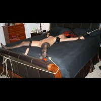 Blonde Wife Bondage On Bed - Blonde Hair, Bondage, Stockings , Bound Body, Tied To The Bed, Sex Toys, Nylons, Hand Cuffed, Thigh Highs, Anklets, And Wristlets, Bondage Accesories, Sheer Black Stockings, X-bondage, Chained Spread Eagle, Tied Up, Spread Eagle!, Bondage Ties, Tied To Bed