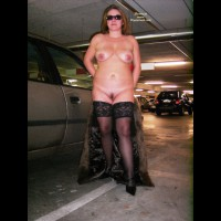 Nude In Parking Garage By Car - Nude In Public, Sunglasses, Trimmed Pussy, Naked Girl, Nude Amateur , Exposing In Garage, Fur Coat, Stockings, Parking Garage Nude, Black Shoes, Black Thigh Highs