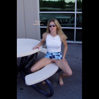 Sitting Outside Showing Pussy - Shaved Pussy , Sitting Outside Showing Pussy, Shaved Pussy, Upskirt Shaved Pussy On A Bench, Blonde Wearing Sunglasses Flashing Pussy