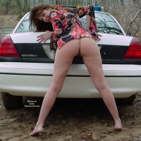 Brunette Showing Ass And Legs On Police Car - Brunette Hair, Naked Girl, Nude Amateur , Spreading Legs On Police Car, Bottomless Leaning Bent Over The Back Of A Police Car, Buns Showing Bent Over On Tip Toes, Outside On Dirt Road Looking Over Shoulder, Retro Mod Shirt With No Pants Outside, Totally Bottomless, Nude In The Woods, Looking Over Shoulder, View From Behind, Half Naked By The Patrol