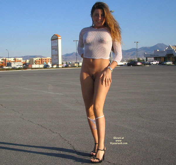 Bottomless Frontal In Parking Lot - Bottomless, Flashing, Heels, Landing Strip, Nude Outdoors, Hot Girl, Naked Girl, Nude Amateur , Flashing In Public, Naked In Empty Parking Lot, White See Through Top, White G-string, In Wide Open Parking Lot, Full Frontal Semi-nude, Panties Around Knees, Panties Down, Smiling Directly At The Camera