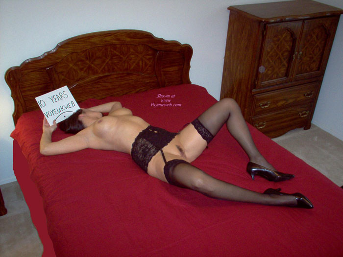 Nude Girl Holding A Sign - Stockings, Naked Girl, Nude Amateur , Naked On Bed, Nude Girl On Bed Spreading Her Legs, Black Garter Belt, Black Patent Short Heels, Black Lace Garter Belt, Lace Topped Black Sheer Stockings, 10 Years Voyeurweb