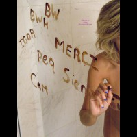 Nude Girl Greeting Others On A Mirror - Blonde Hair, Naked Girl, Nude Amateur , French Manicure, Erect Nipple, Blue Nails, Painted Tits, Mirror Mirror On The Wall